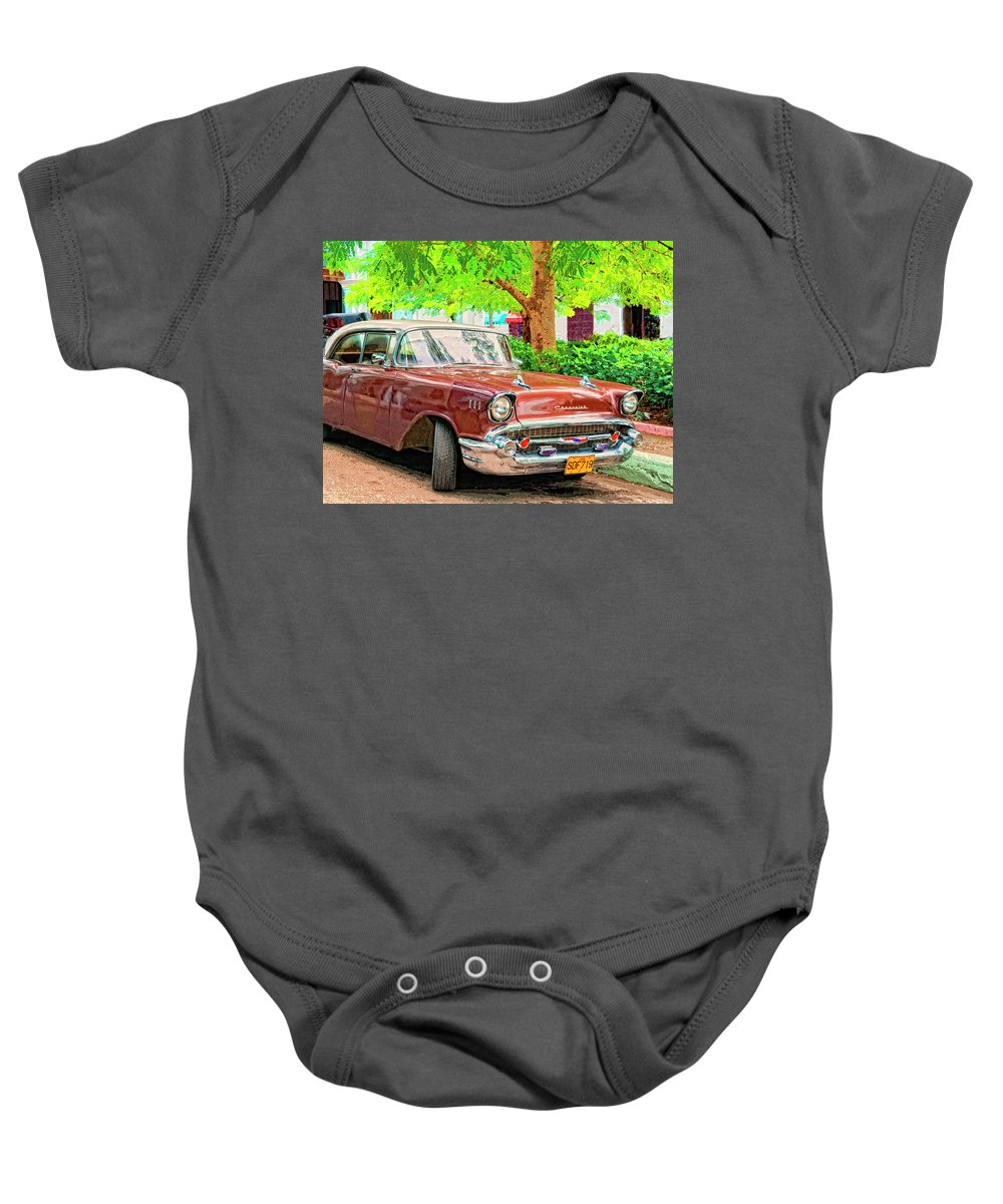 Fifty Seven Baby Onesie featuring the mixed media Fifty Seven by Dominic Piperata