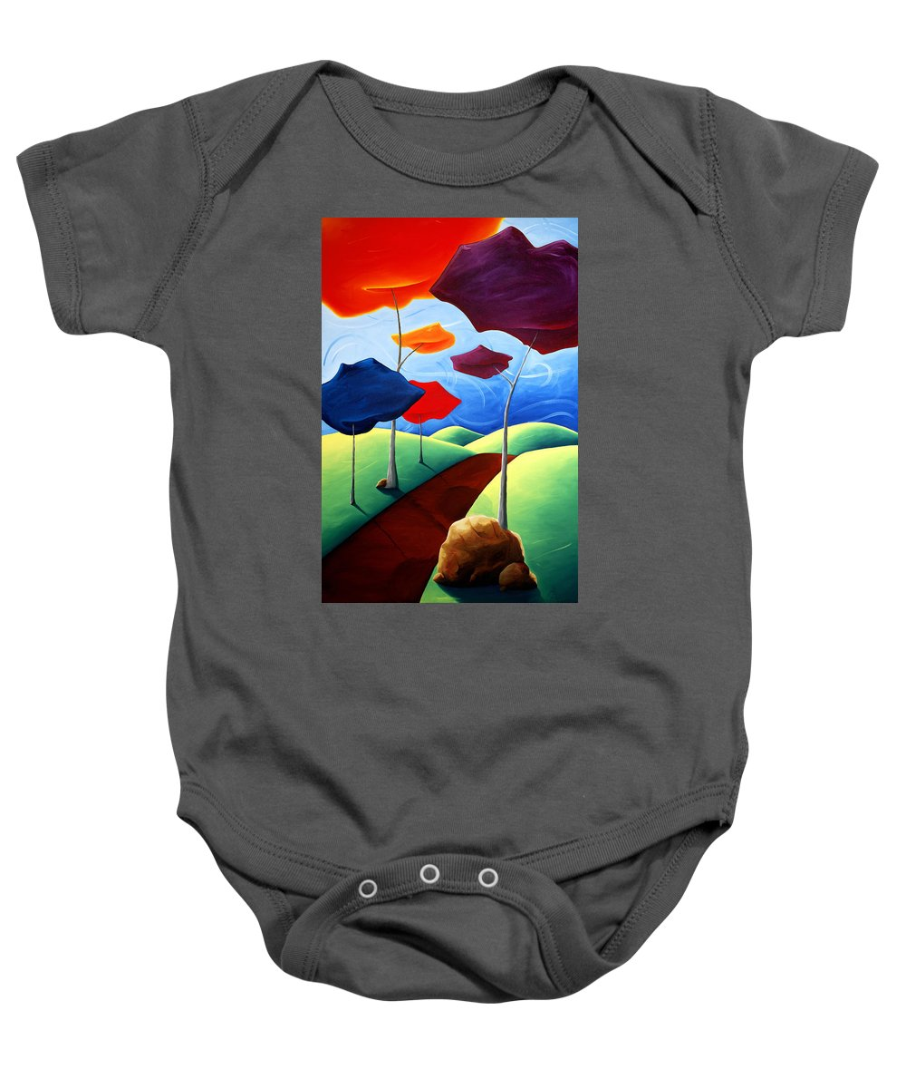 Landscape Baby Onesie featuring the painting Finding Your Way by Richard Hoedl