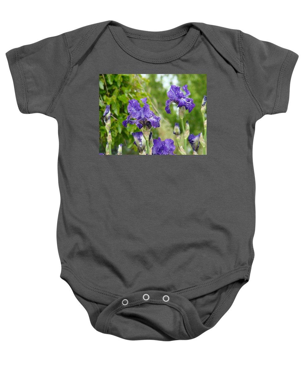 Iris Baby Onesie featuring the photograph Fine Art Floral Prints Purple Iris Flowers Canvas Irises Baslee Troutman by Baslee Troutman