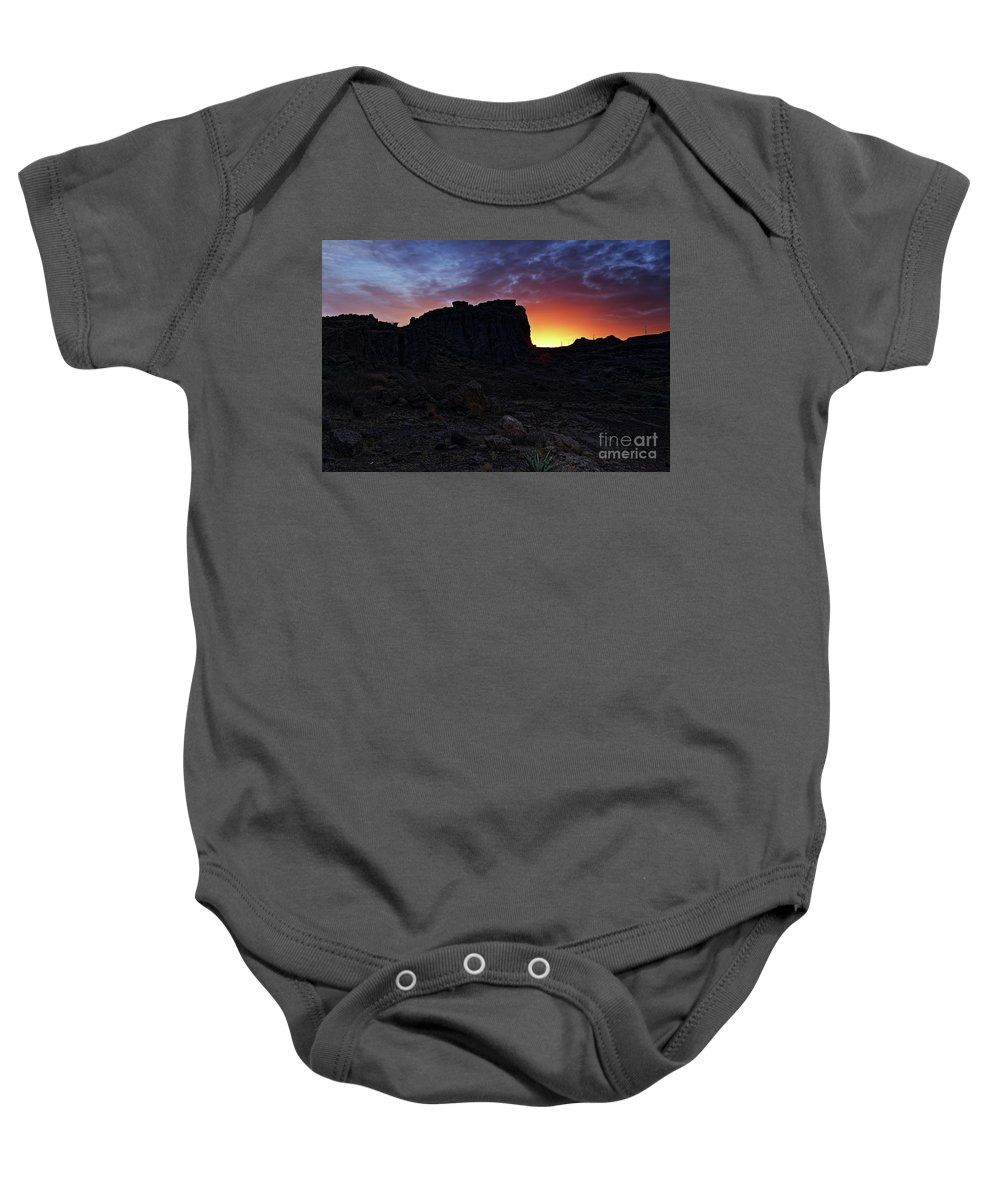 Nature Baby Onesie featuring the photograph Fire Ball Sunset by Rick Mann