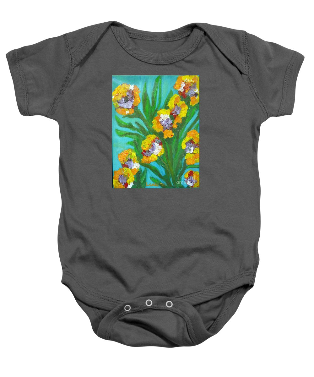 Flower Baby Onesie featuring the painting Fire Blossoms by Laurie Morgan