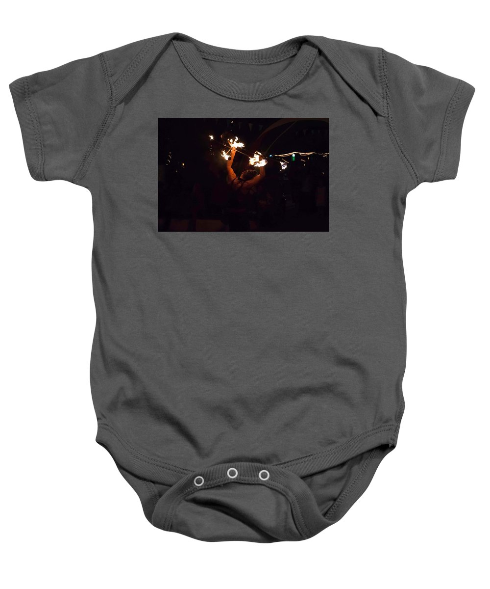 Night Baby Onesie featuring the photograph Fire Daredevil by Seb Estrada