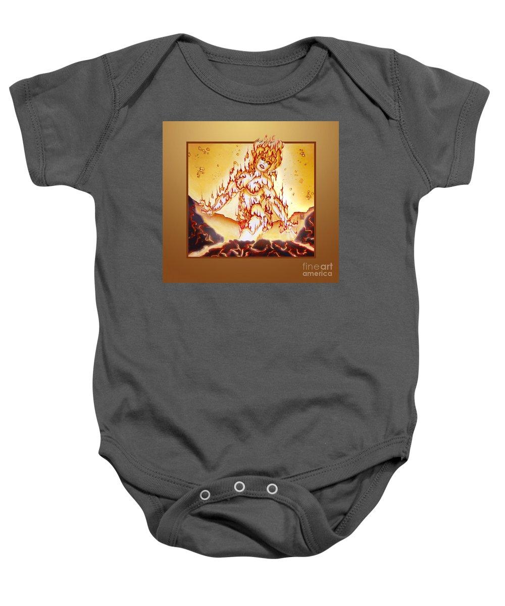 Fire Elemental Baby Onesie featuring the digital art Fire Elemental by Melissa A Benson