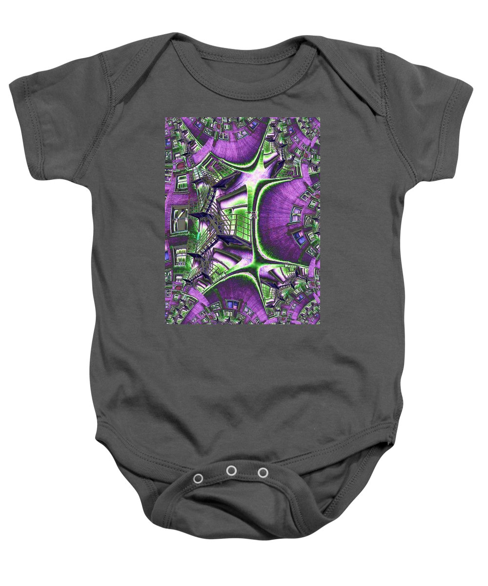 Fire Escape Baby Onesie featuring the photograph Fire Escape Fractal by Tim Allen