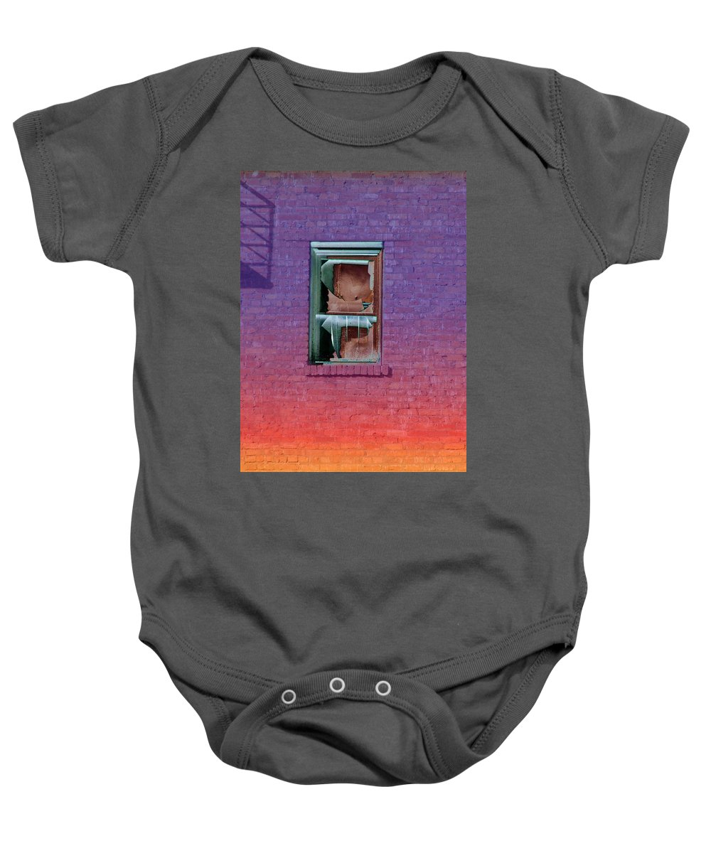 Architecture Baby Onesie featuring the photograph Fire Escape Window 2 by Tim Allen