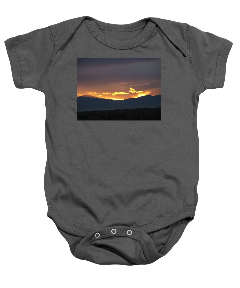 Sunset Baby Onesie featuring the photograph Fire In The Sky by Shari Chavira