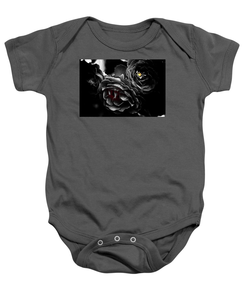 Rose Baby Onesie featuring the photograph Fire Within by Cate Franklyn