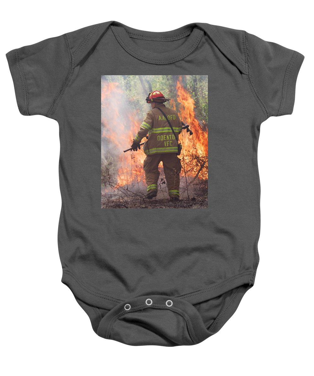 Fire Baby Onesie featuring the photograph Firefighter 967 by Francesa Miller