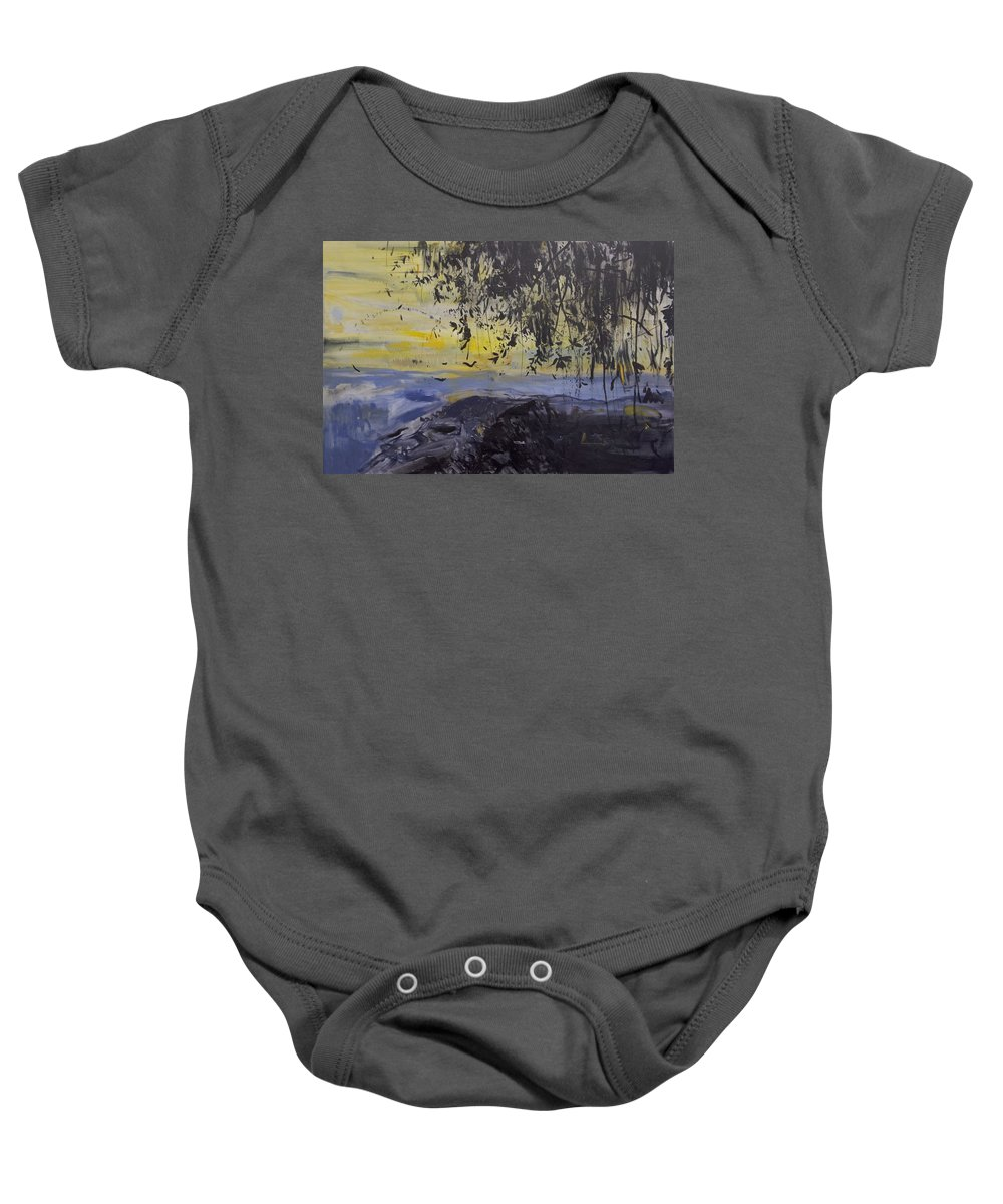 Water Baby Onesie featuring the painting Fireflies Nocturne by Calum McClure