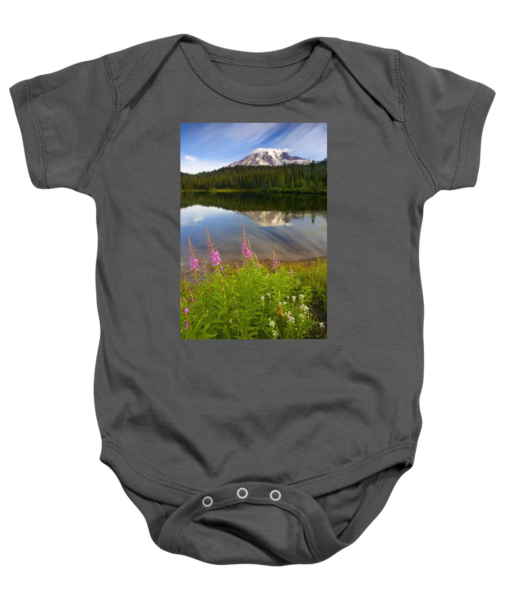Fireweed Baby Onesie featuring the photograph Fireweed Reflections by Mike Dawson