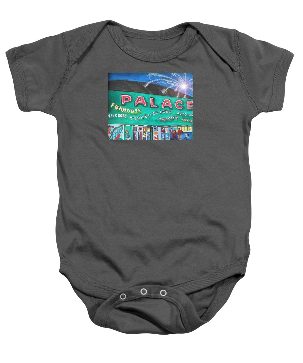Asbury Park Art Baby Onesie featuring the painting Fireworks At The Palace by Patricia Arroyo