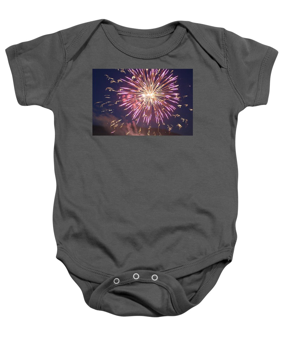 Fire Baby Onesie featuring the digital art Fireworks In The Park 2 by Gary Baird