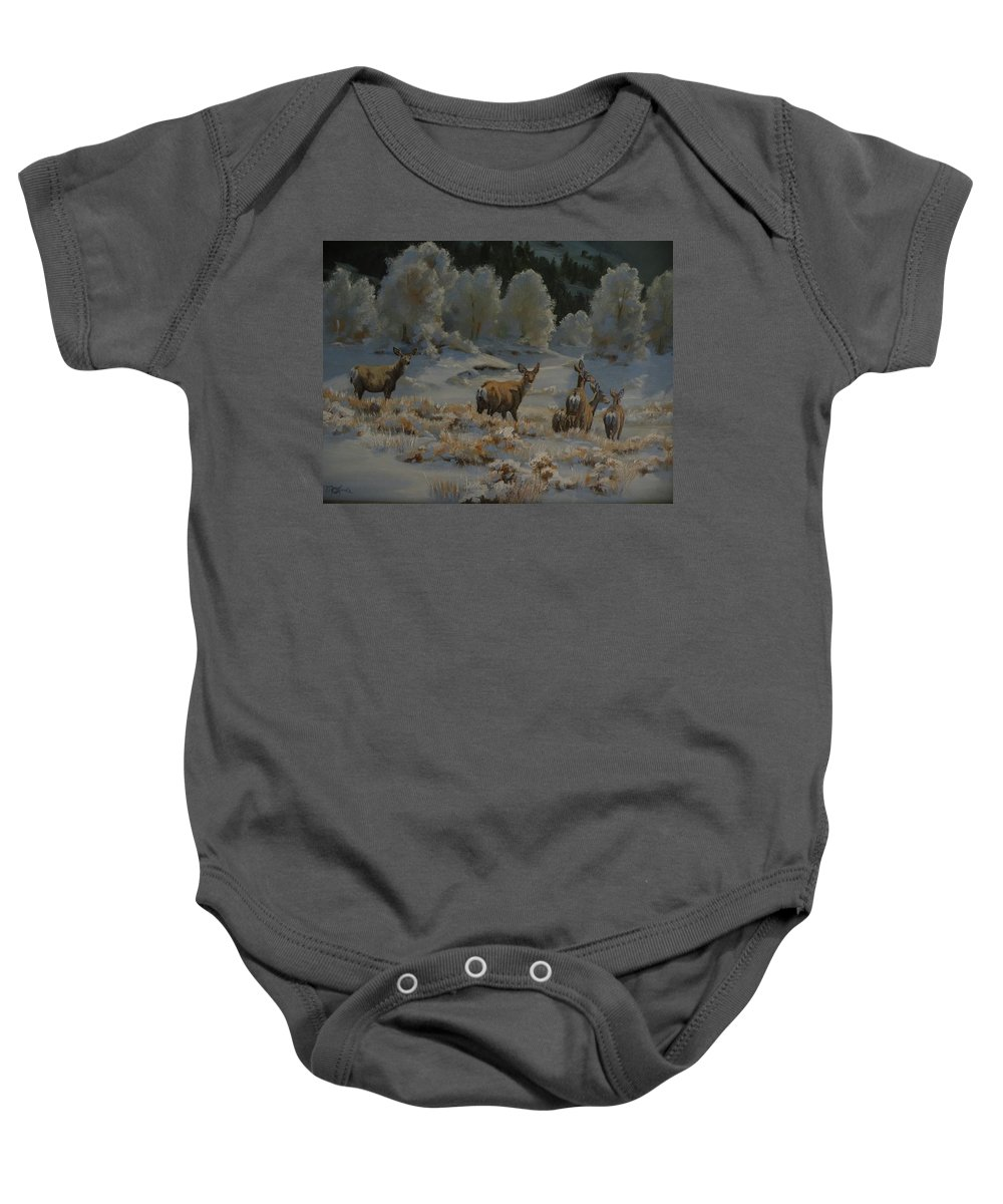 Mule Deer Baby Onesie featuring the painting First Cold Snap by Mia DeLode