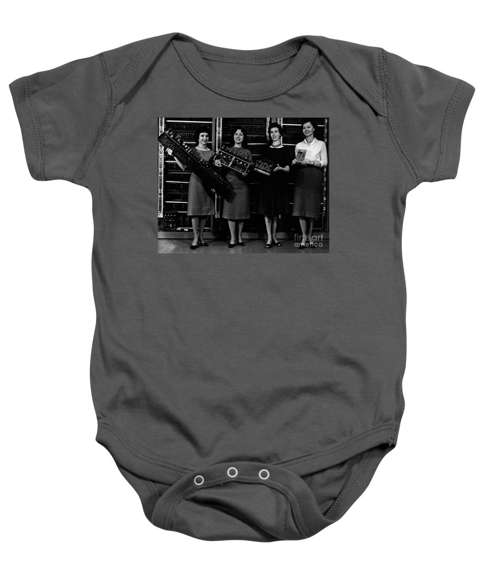 Black And White Baby Onesie featuring the photograph First Four Computer Circuit Boards by Science Source