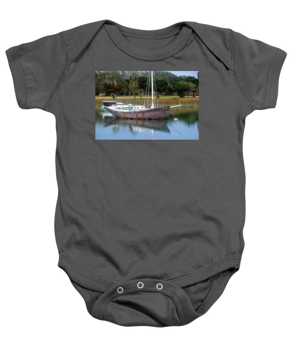 Boat Baby Onesie featuring the photograph First Harbor by David Lee Thompson