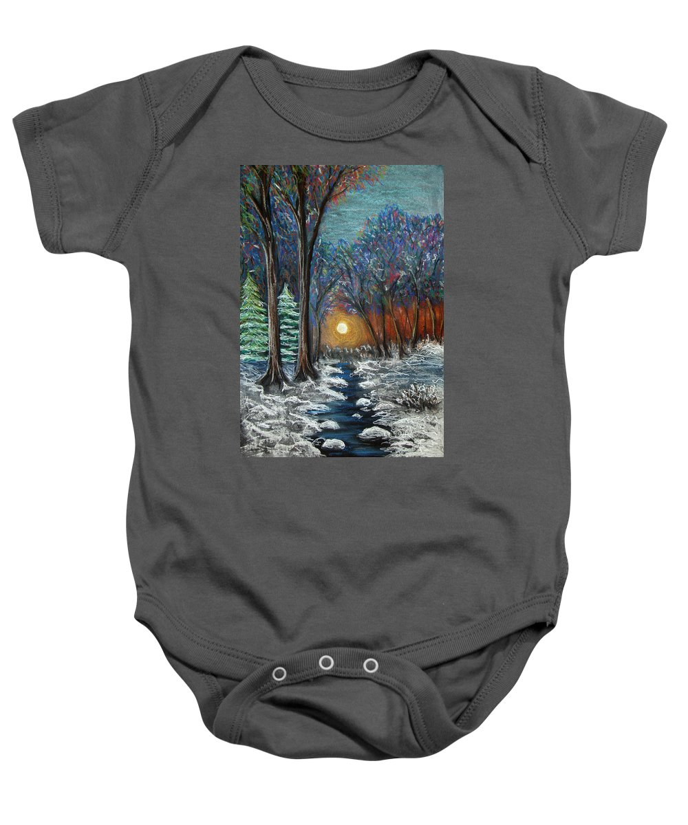 Snow Baby Onesie featuring the pastel First Snow by Nancy Mueller