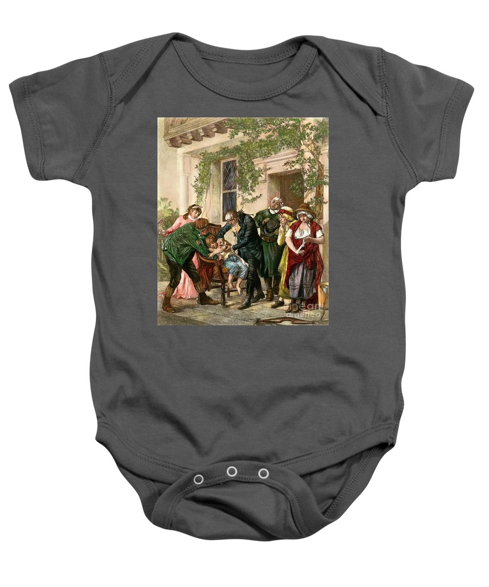 1796 Baby Onesie featuring the drawing First Vaccination, 1796 by Granger