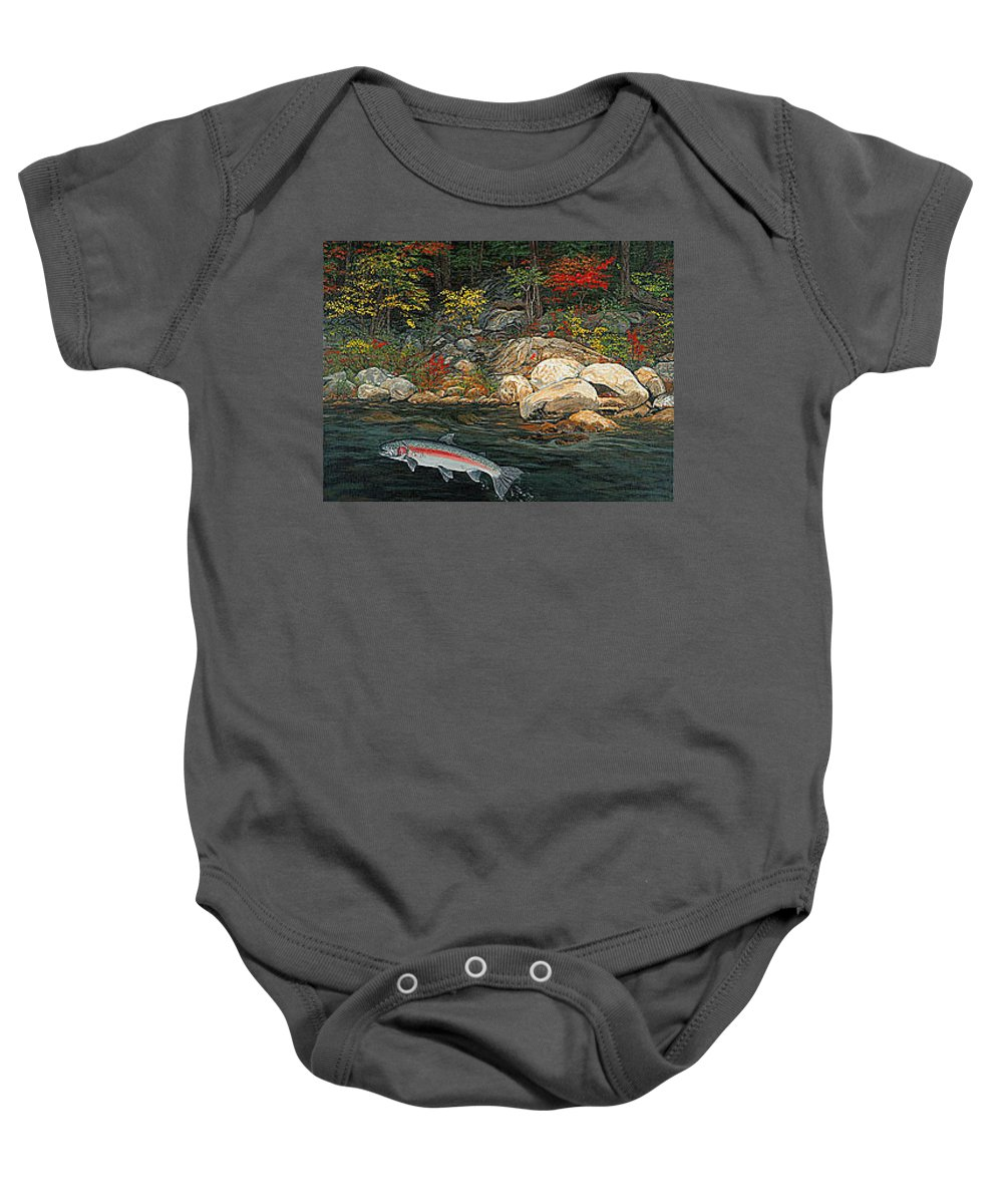 Art Baby Onesie featuring the painting Fish Art Jumping Silver Steelhead Trout Art Nature Artwork Giclee Wildlife Underwater Wall Art Work by Baslee Troutman
