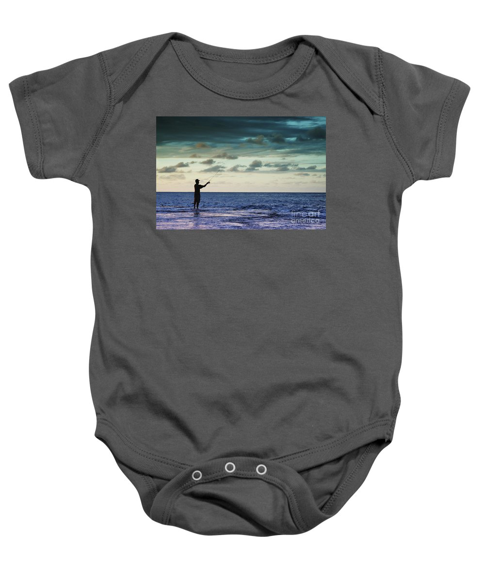 Beautiful Baby Onesie featuring the photograph Fishing At Dusk by Vince Cavataio - Printscapes