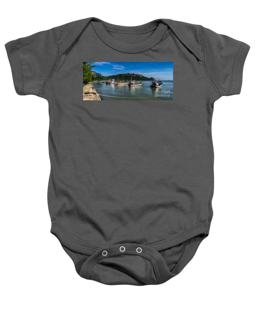 Boat Baby Onesie featuring the photograph Fishing Harbour by Adrian Evans