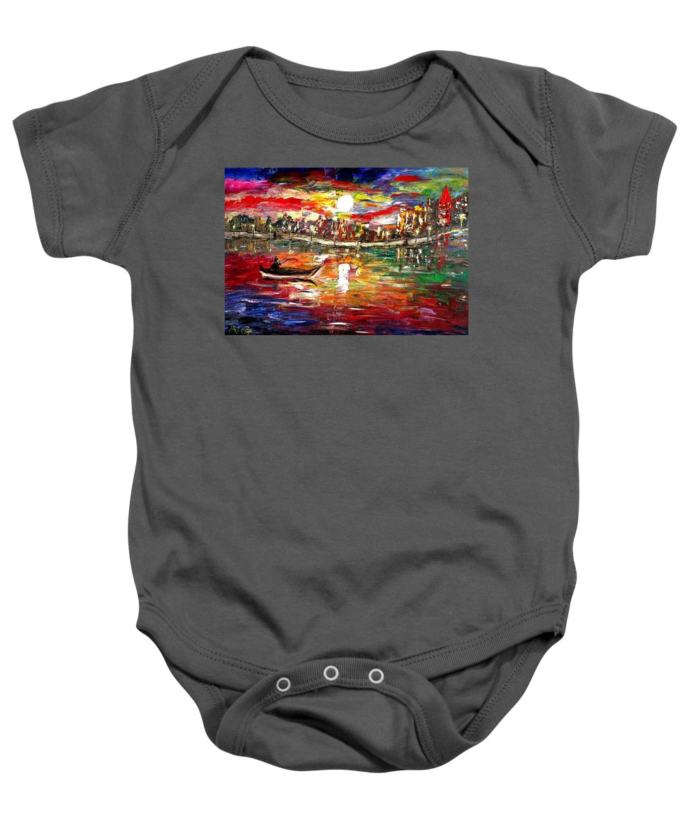 Art Baby Onesie featuring the painting Fishing In The Moonlight by Luiza Vizoli