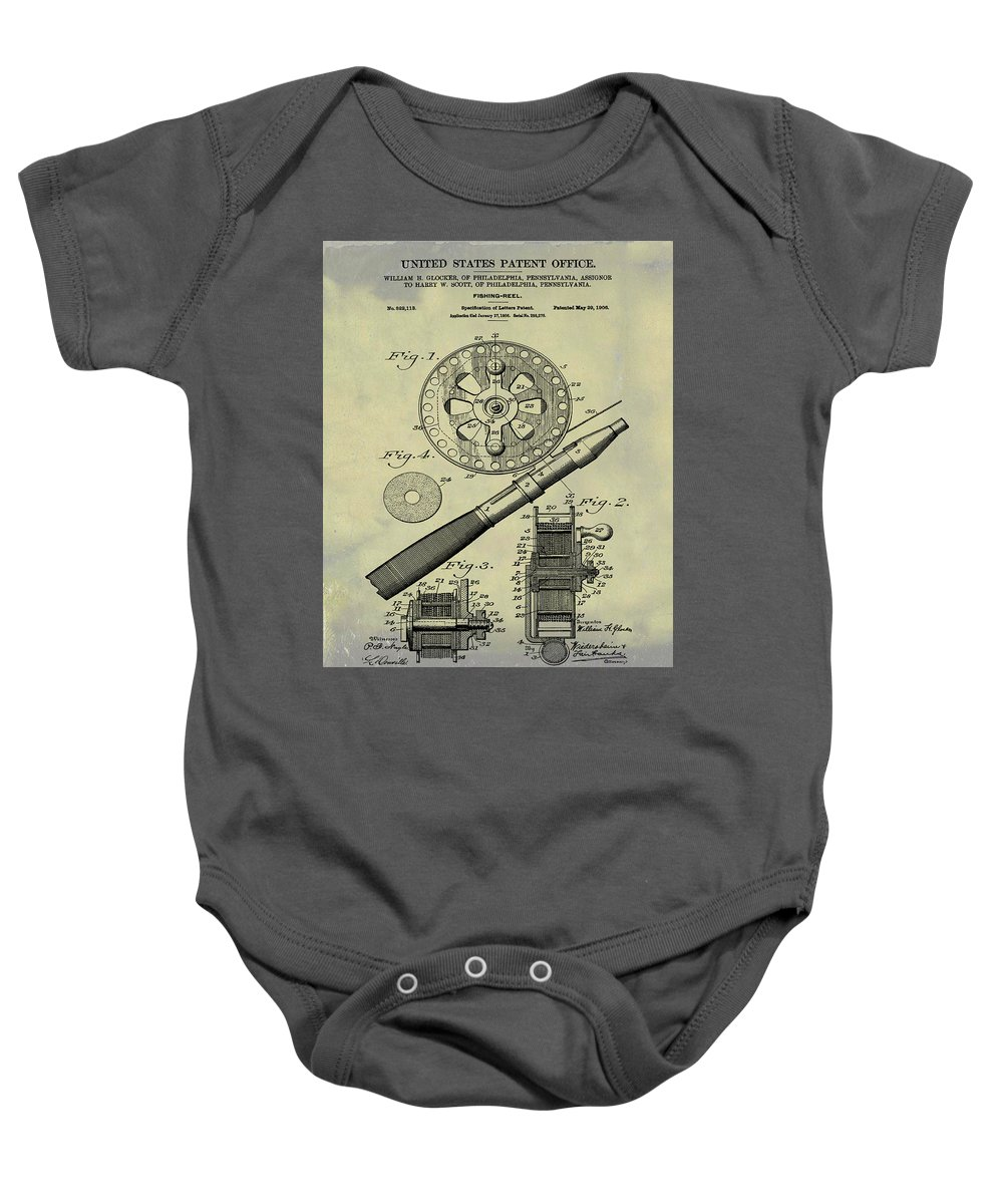Fishing Baby Onesie featuring the digital art Fishing Reel Patent 1906 Vintage by Bill Cannon