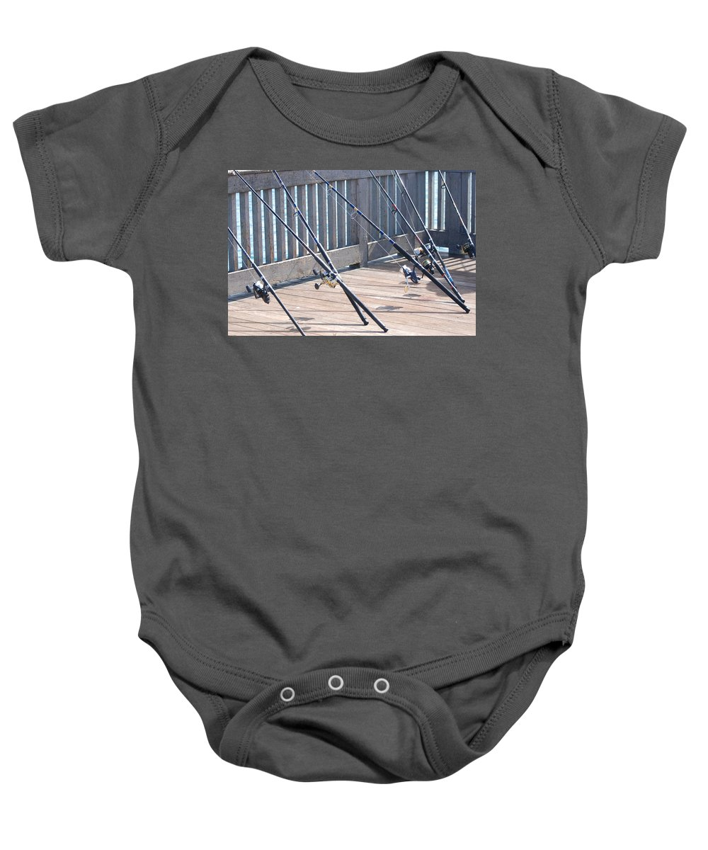Pier Baby Onesie featuring the photograph Fishing Rods by Rob Hans