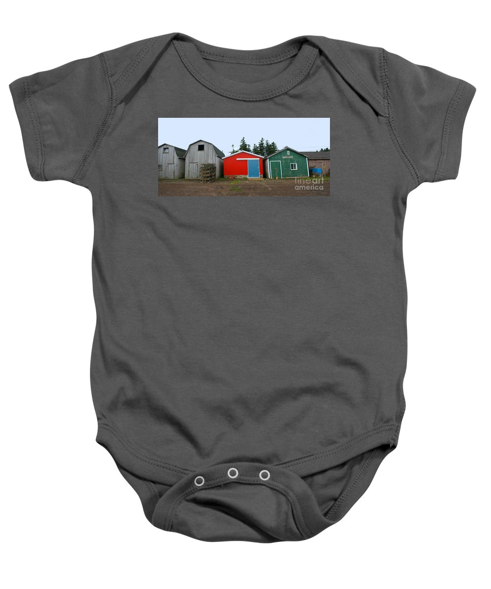Fishing Baby Onesie featuring the photograph Fishing Shacks Prince Edward Island Canada by Thomas Marchessault