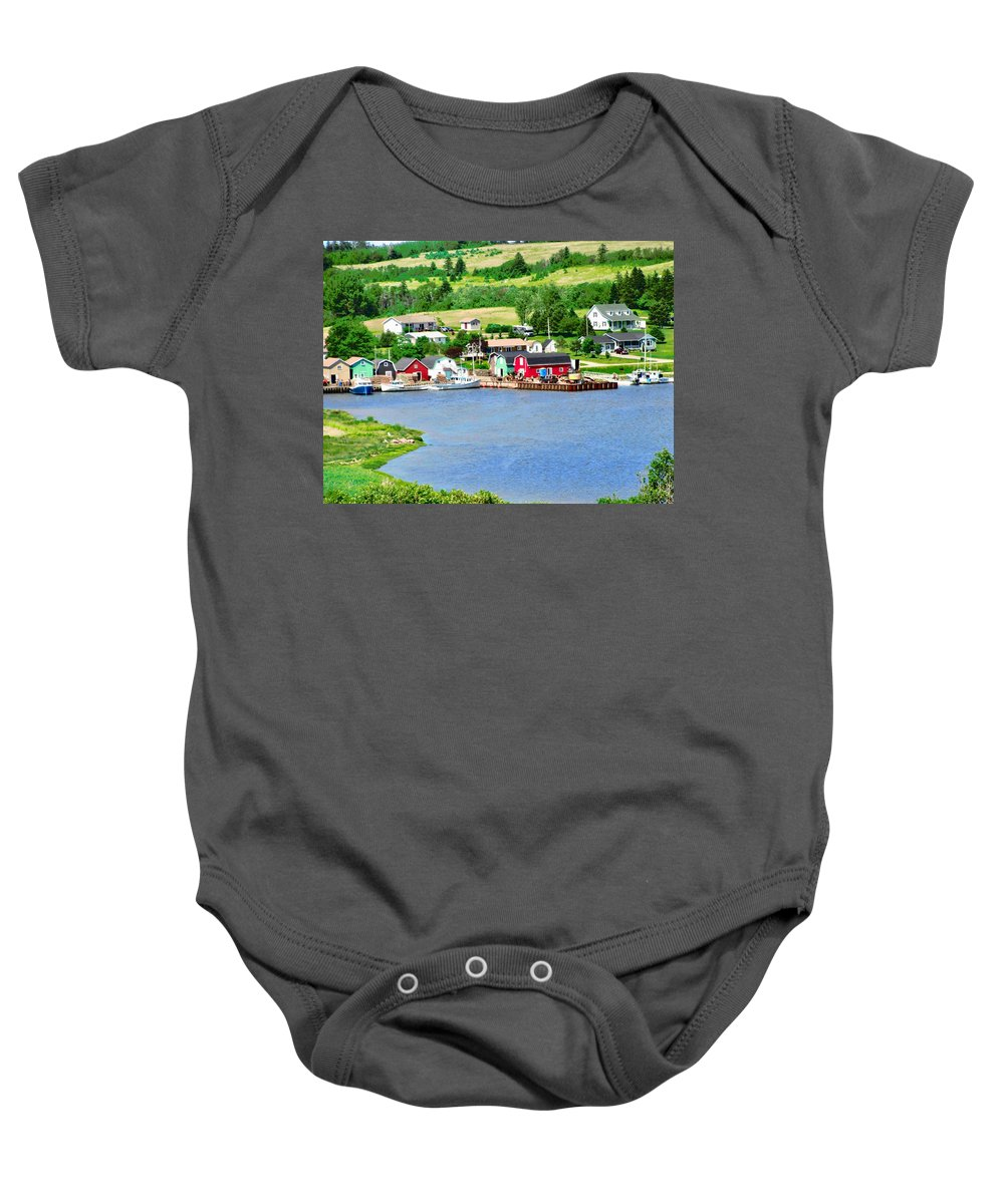 Fields Baby Onesie featuring the photograph Fishing Village In Prince Edward Island by Stephanie Moore
