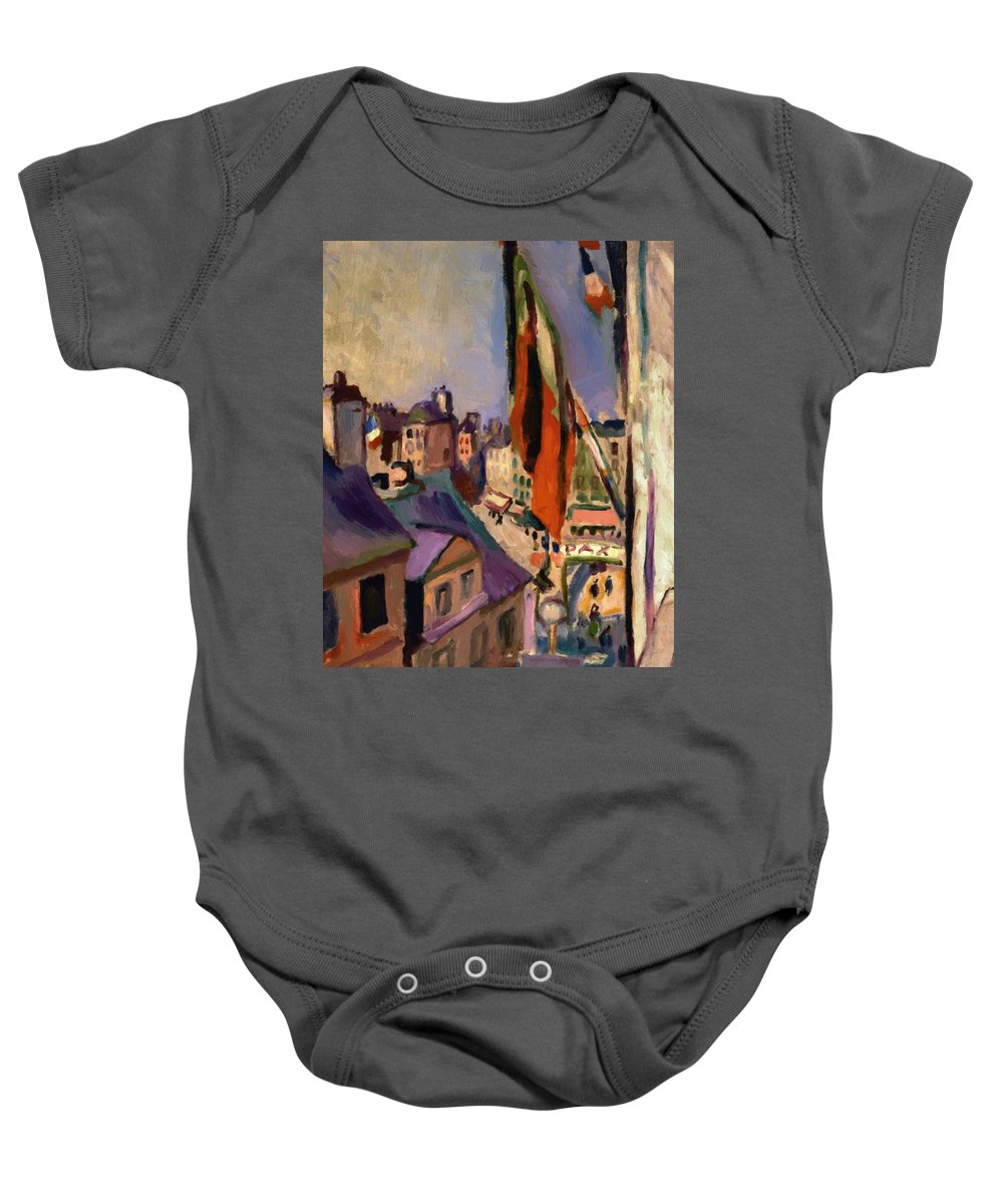 Flag Baby Onesie featuring the painting Flag Decorated Street 1906 by Renoir PierreAuguste
