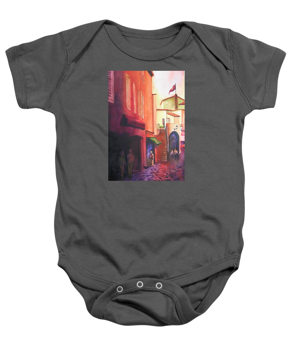 Europe Baby Onesie featuring the painting Flag Over St. Tropez by Karen Stark