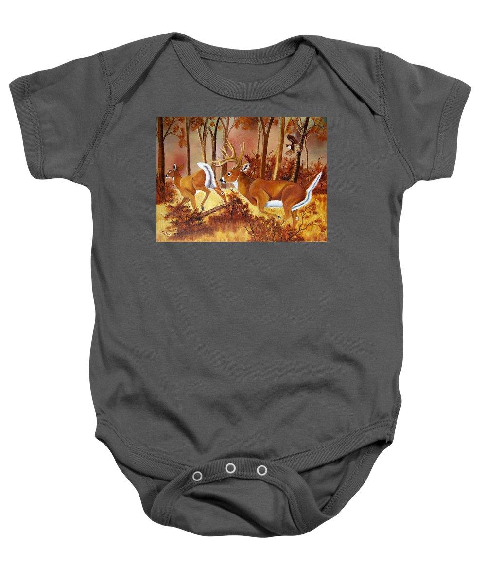 Deer Baby Onesie featuring the painting Flagging Deer by Debbie LaFrance