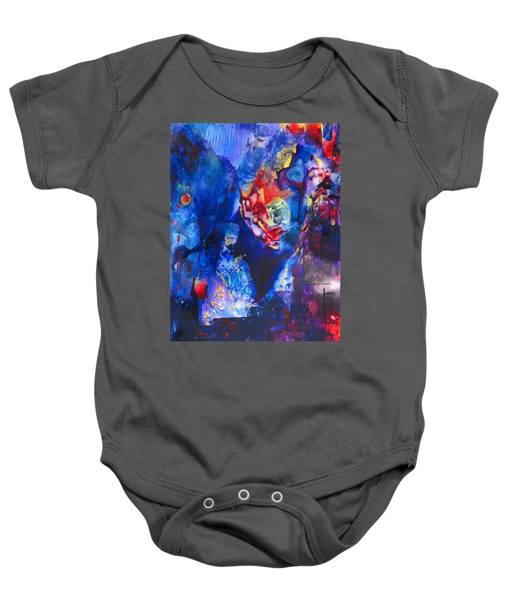 Violent Baby Onesie featuring the painting Flak'd by Janice Nabors Raiteri