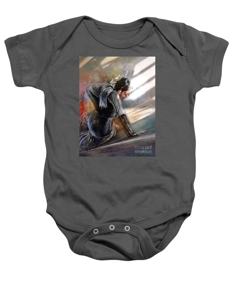 Spain Folklore Baby Onesie featuring the painting Flamenco Dancer On The Ground by Miki De Goodaboom