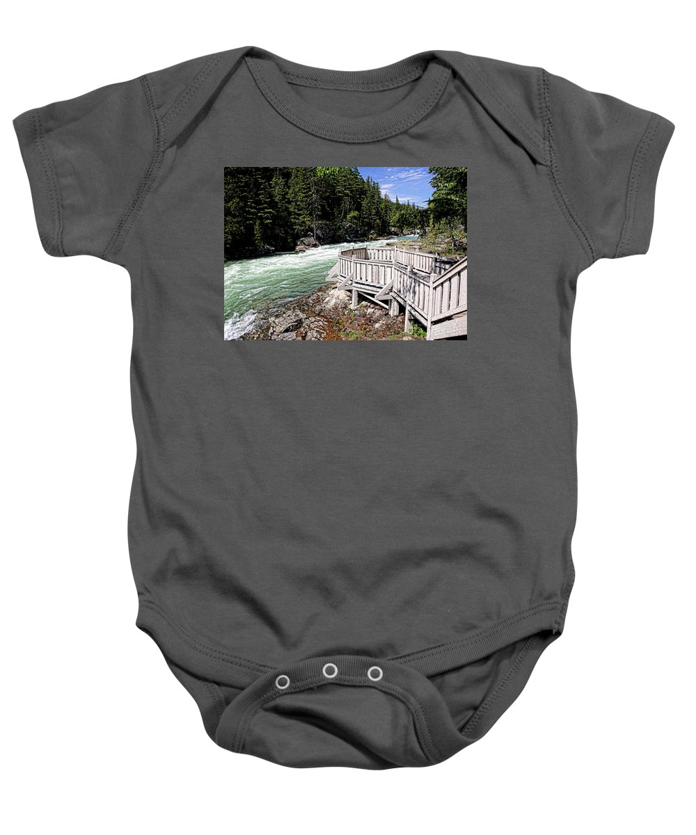 River Baby Onesie featuring the photograph Flathead River Rapids by David Ross