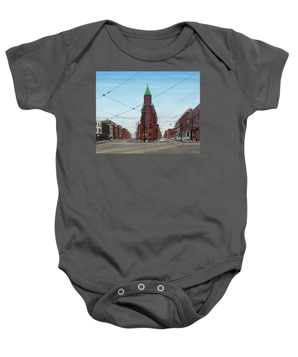 Streetscapes Baby Onesie featuring the painting Flatiron Building 1955 by Kenneth M Kirsch