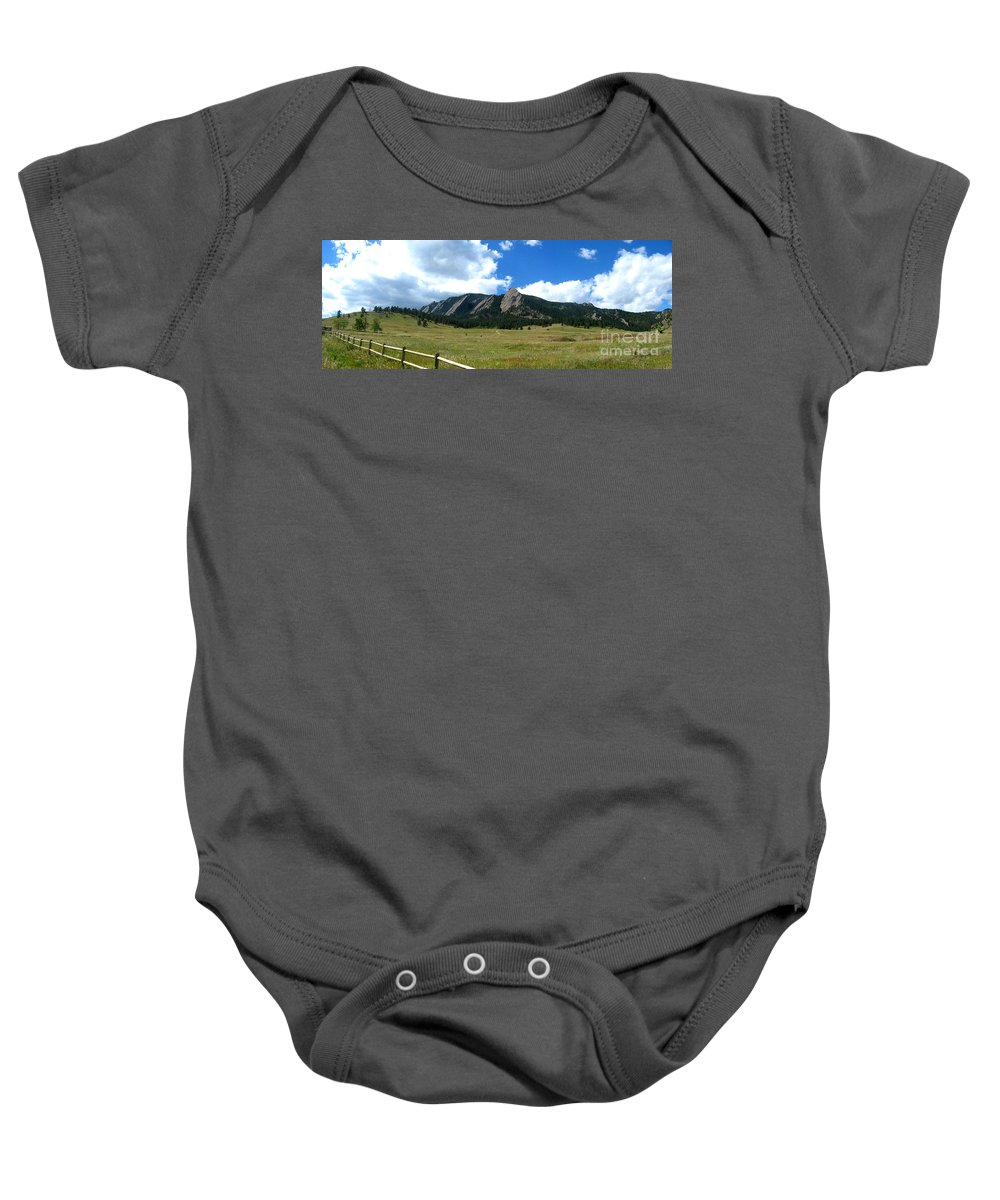 Flatiron Baby Onesie featuring the photograph Flatirons Panorama by Thomas Marchessault