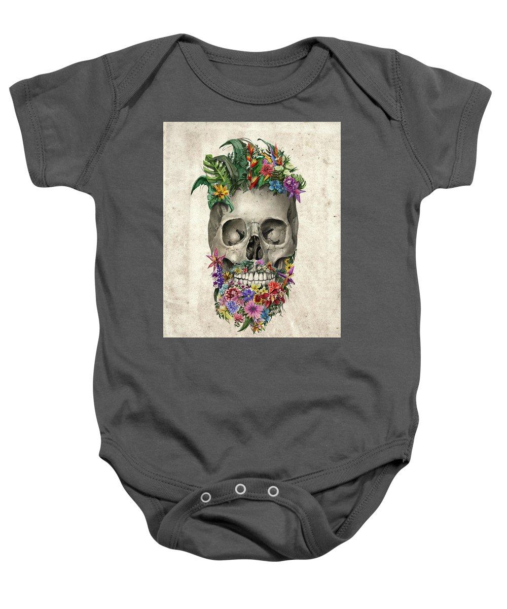 Skull Baby Onesie featuring the painting Floral Beard Skull by Bekim Art