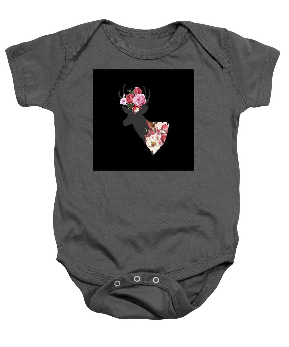 Deer Baby Onesie featuring the digital art Floral Deer On Black by Suzanne Carter