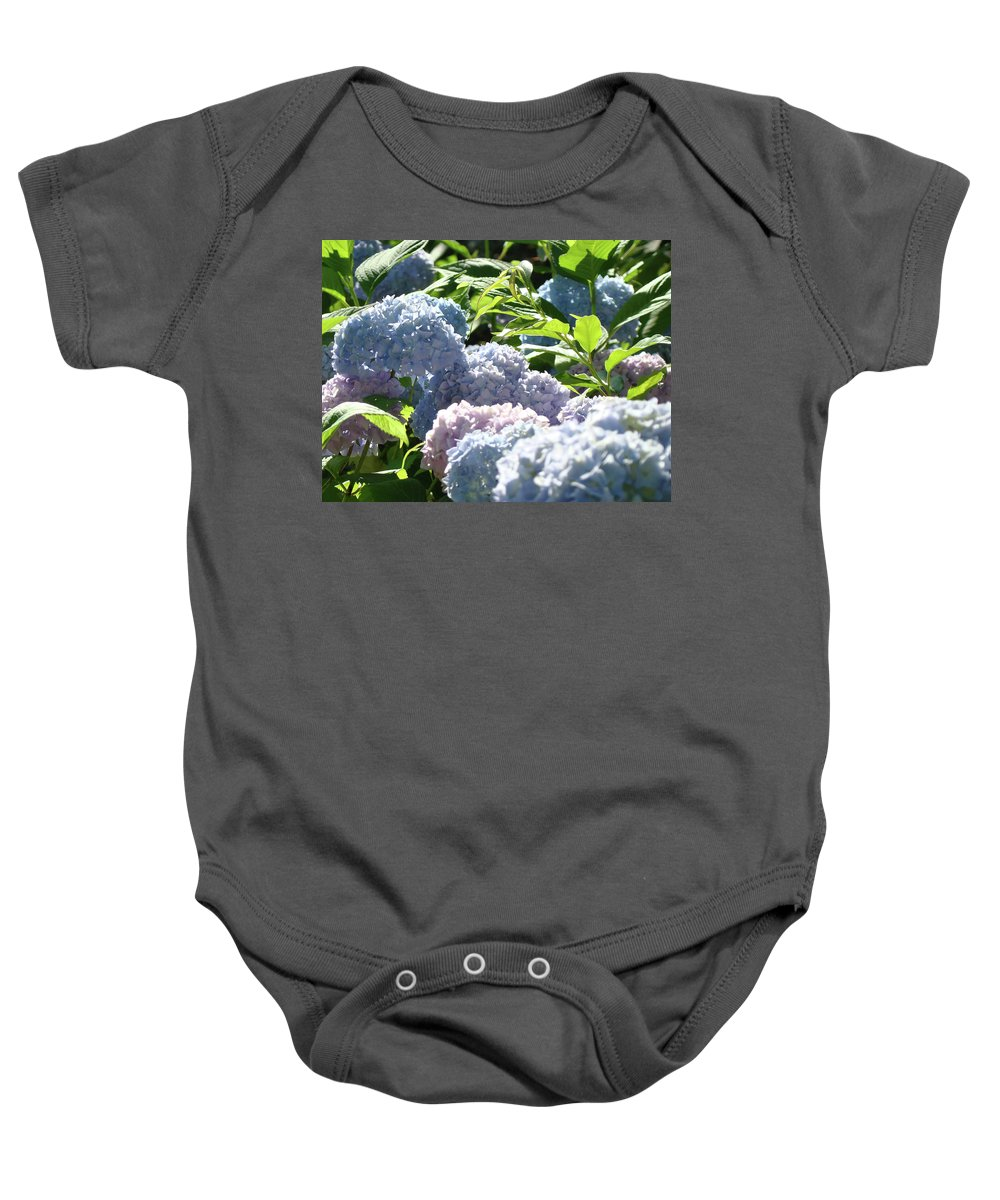 Nature Baby Onesie featuring the photograph Floral Garden Art Prints Blud Hydrangea Flowers by Baslee Troutman