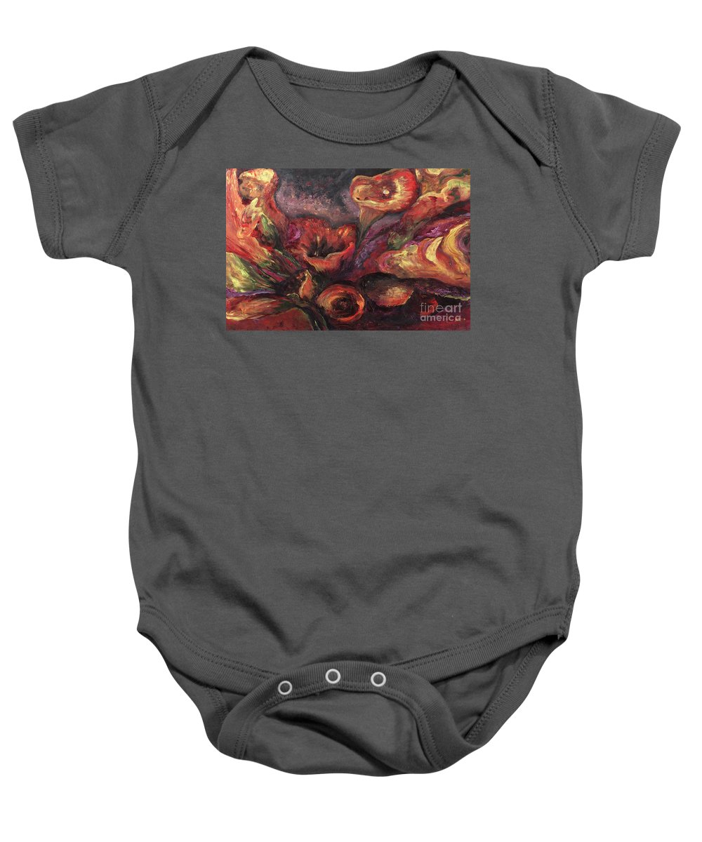 Calla Lilies Baby Onesie featuring the painting Floral Sun Worship by Nadine Rippelmeyer