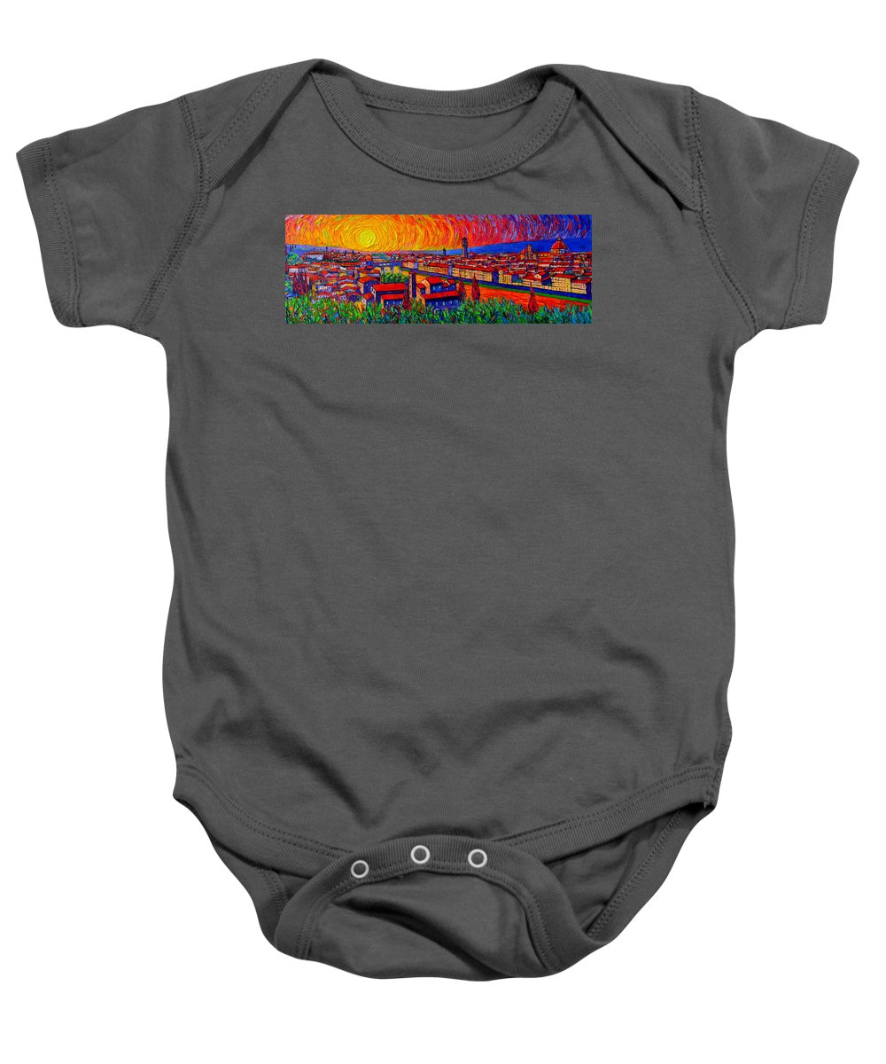 Florence Baby Onesie featuring the painting Florence Sunset 9 Modern Impressionist Abstract City Impasto Knife Oil Painting Ana Maria Edulescu by Ana Maria Edulescu