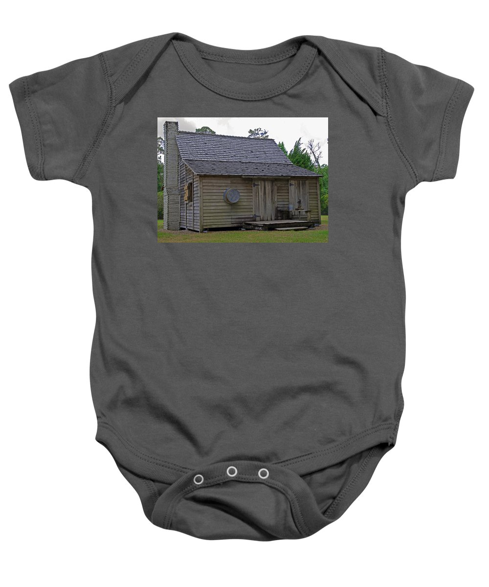 Cracker; Florida; Cabin; Rain; Light; Falls; 1900's; Farmer; Farm; Citrus; Oranges; Orlando; Mature; Baby Onesie featuring the photograph Florida Cracker Cabin Circa 1900 by Allan Hughes