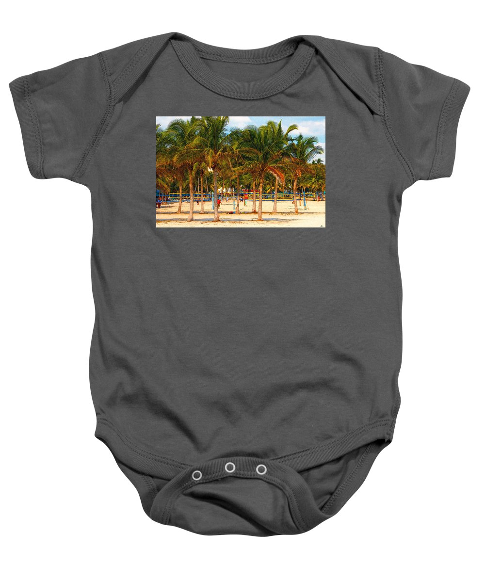 Art Baby Onesie featuring the painting Florida Style Volleyball by David Lee Thompson