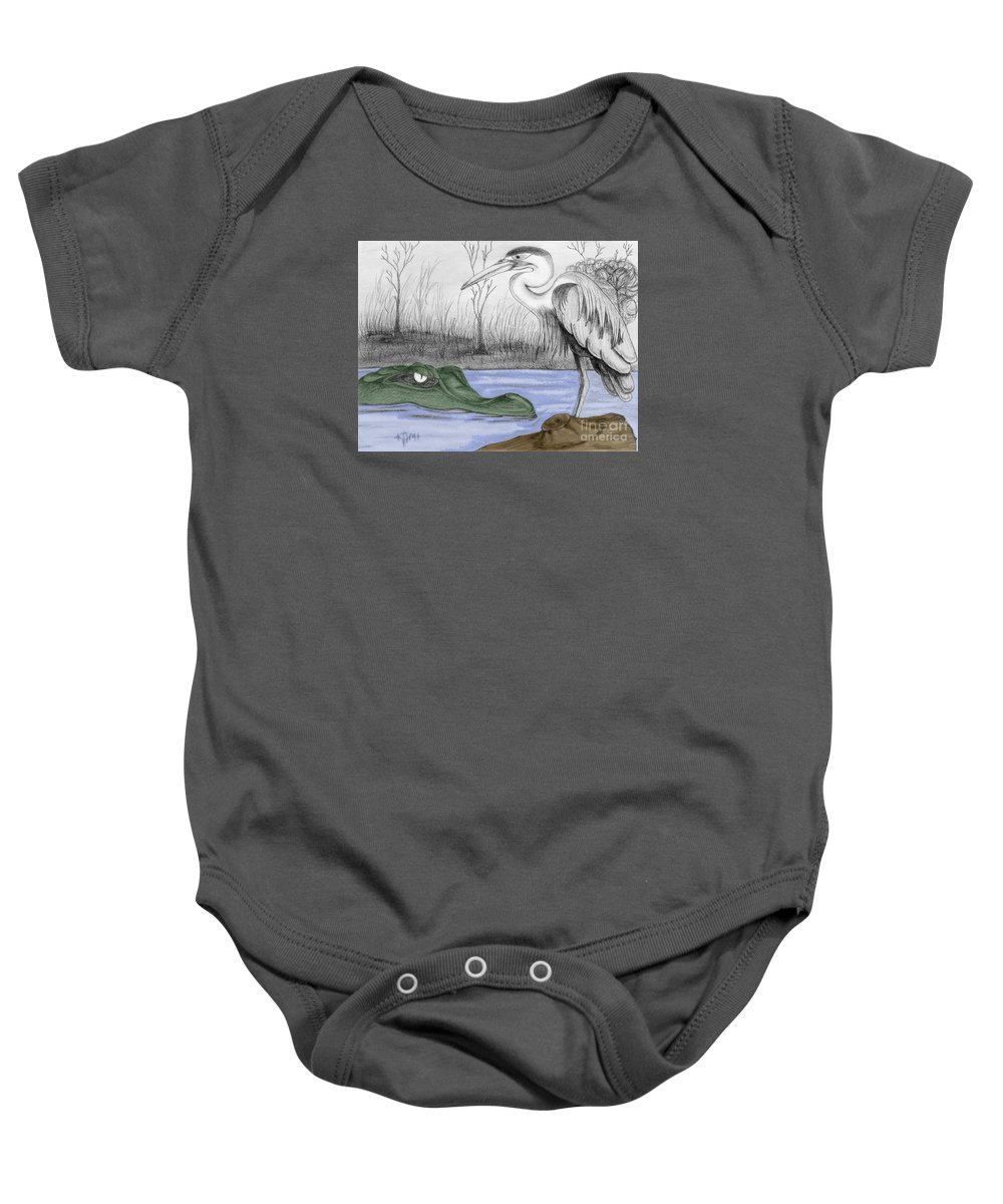 Florida Baby Onesie featuring the drawing Florida Swamp by Kami Catherman