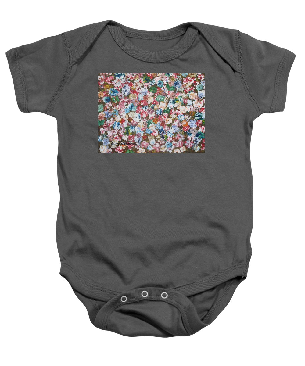 Summer Spring Floral Blossom Painting Color Colorful Abstract Painting Art Baby Onesie featuring the painting Flower Bed by Bruno Patriarca