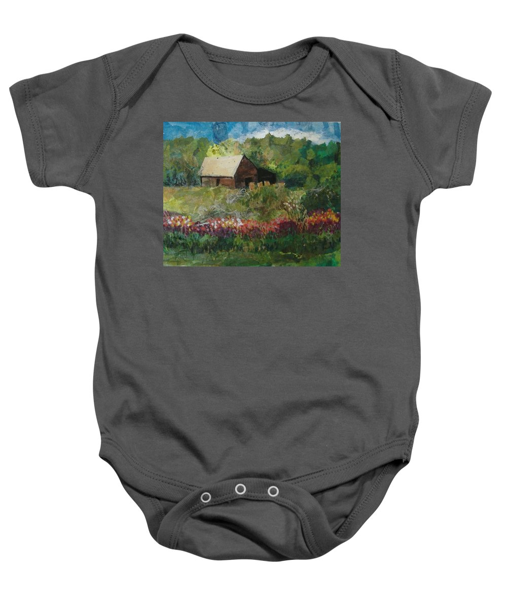 Landscape Baby Onesie featuring the mixed media Flower Farm by Pat Snook