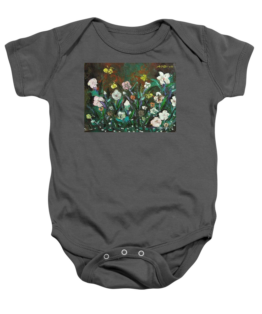 Abstract Paintings Baby Onesie featuring the painting Flower Garden by Seon-Jeong Kim