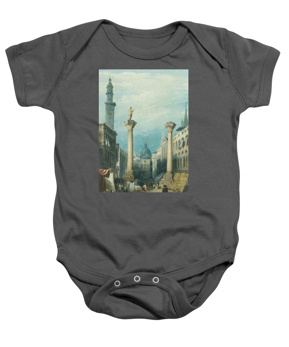 Gatti Baby Onesie featuring the painting flower market in Vicenza by MotionAge Designs