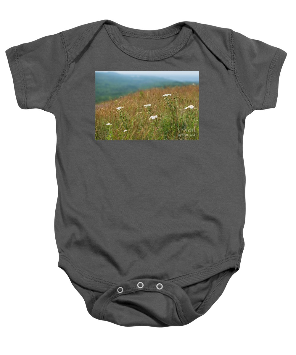 Mountain Baby Onesie featuring the photograph Flower View Of Mountains by Wesley Farnsworth